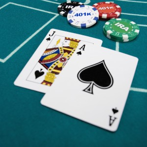 Playing cards with investment poker chips