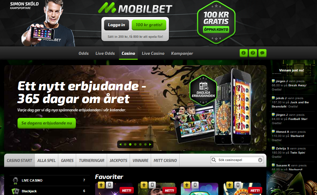 MobilBet Casino Screenshot