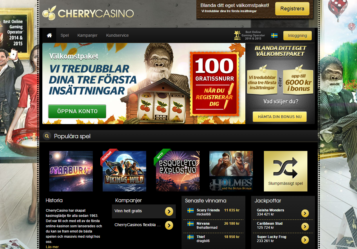 cherry casino 100 free spins